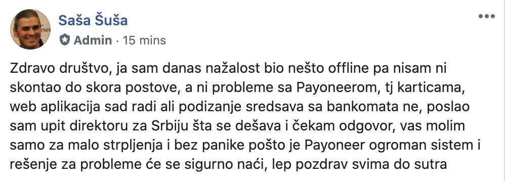 Post Payoneer Serbia Facebook